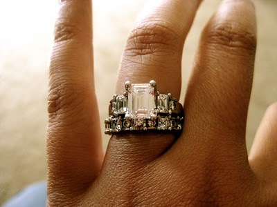 Three Stone Emerald Cut Engagement Ring + Infinity Wedding Band