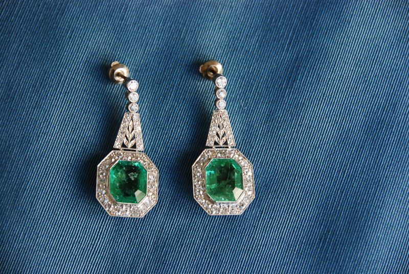 Diamond and Emerald Antique Earrings