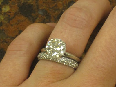 Round Brilliant Engagement Ring Pave Wedding Band Cut Round Brilliant