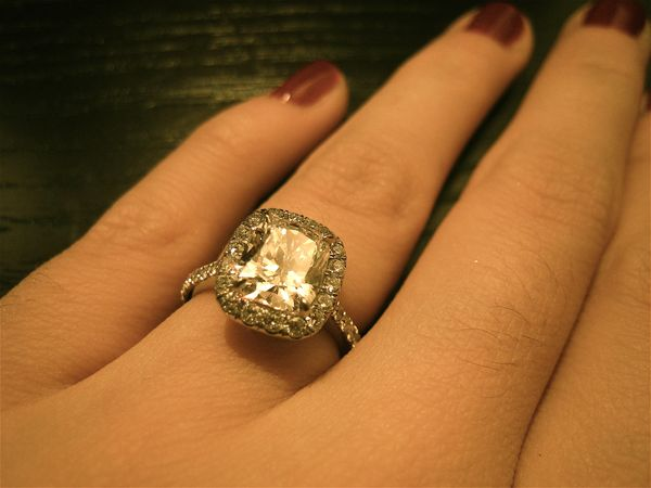 Cushion Cut Engagement Ring With Halo Setting Ringspotters