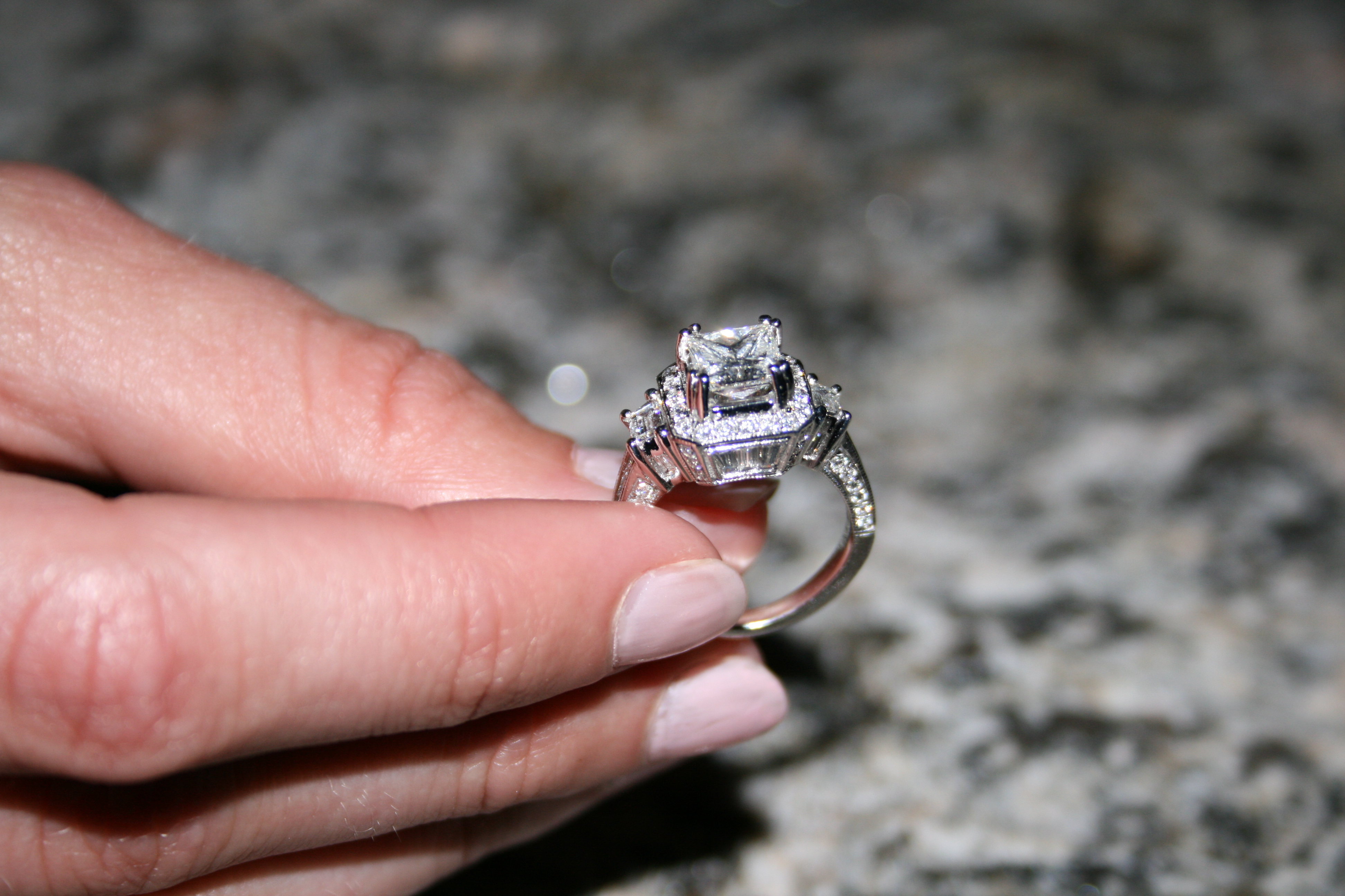Princess Cut Engagement Ring with Vintage Halo Setting - RingSpotters