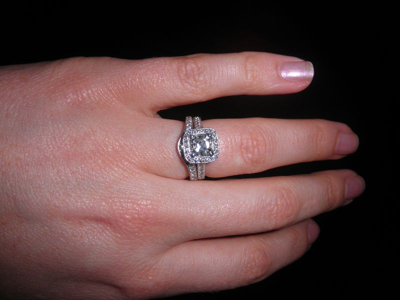 Halo Asscher Cut Engagement Ring with Pave + Wedding Band