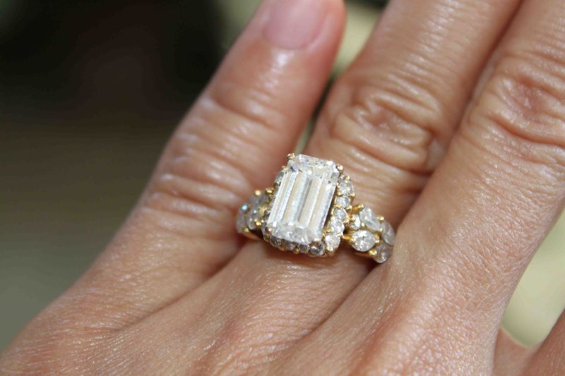 Emerald Cut Ring on Yellow Gold Setting