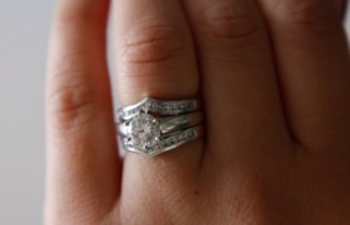 Round Brilliant Engagement Ring + Double Wedding Band