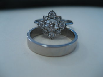 Round Brilliant Floral Engagement Ring