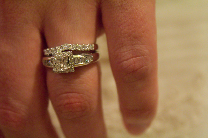 real cut princess bands wedding set center ring engagement