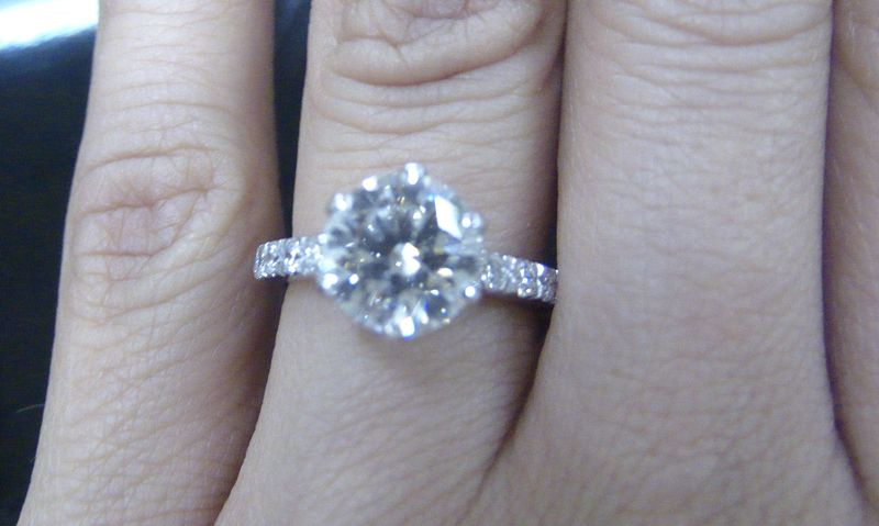 Hearts on Fire Engagement Ring with Pave Band