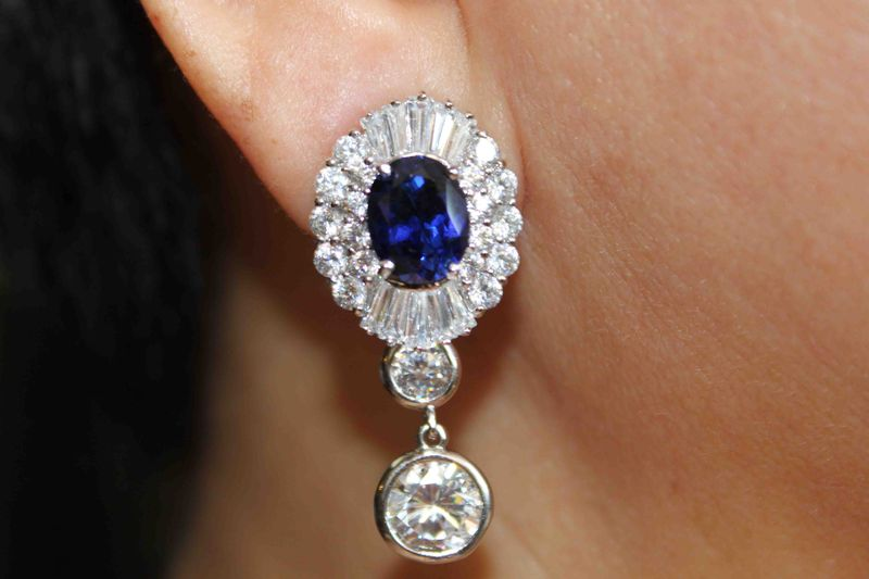 IMG_0477Blue Sapphire Earring with Baguettes and Round Brilliants