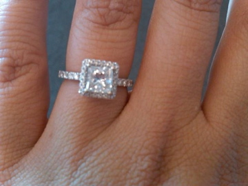 Princess Cut Engagement Ring With Halo Setting Ringspotters