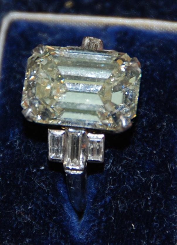 vintage yellow diamond, emerald cut
