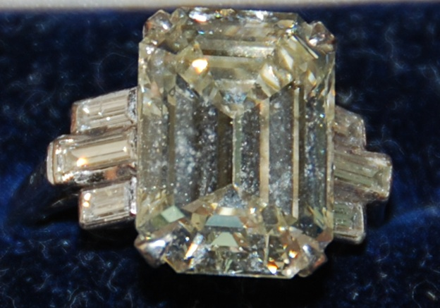 vintage yellow diamond, emerald cut