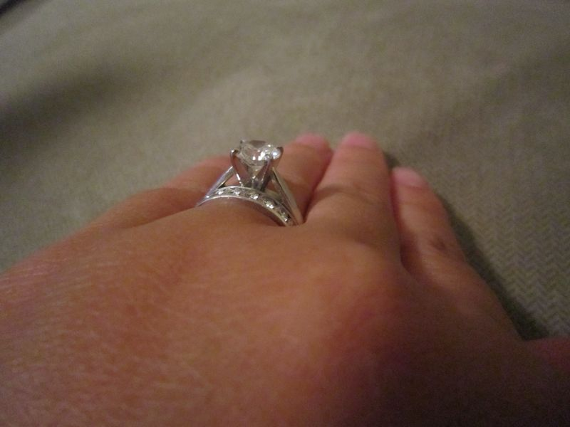 Round Brilliant Engagement Ring with Cathedral Setting + Wedding Band