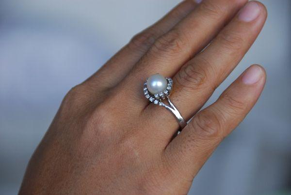 Pearl Diamond Engagement Ring