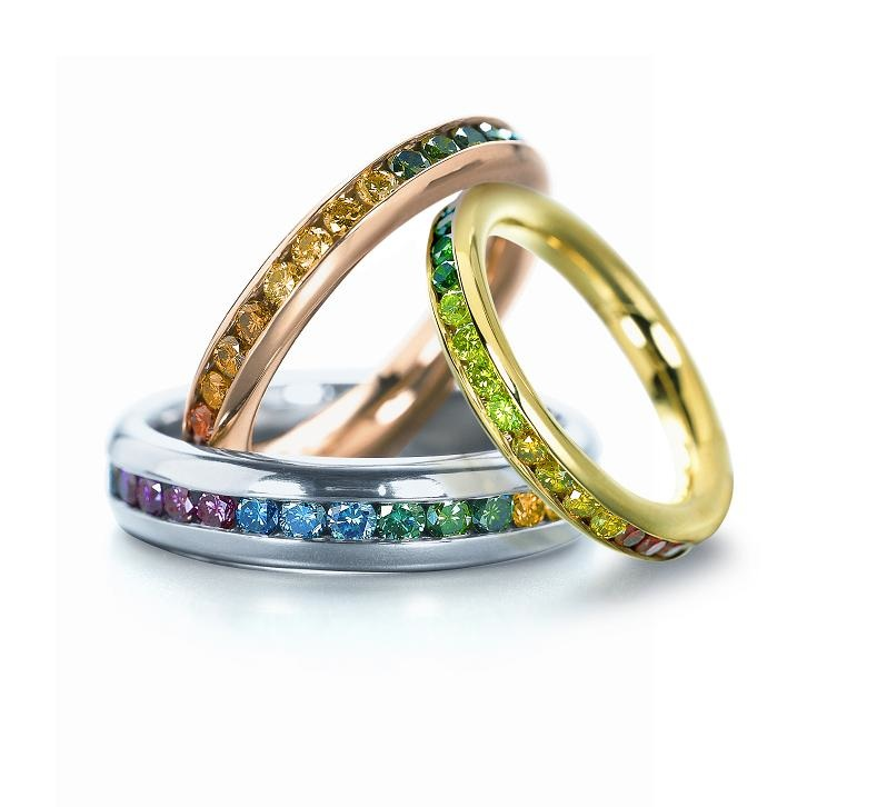 3rainbowchannellbands fb - Colored Wedding Rings