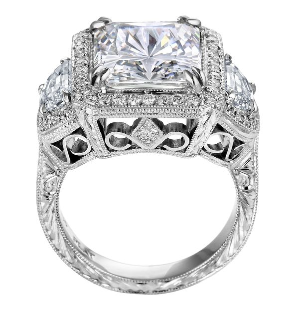 Radiant Cut Three Stone Engagement Ring With Vintage