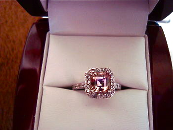Pink Asscher Engagement Ring with Halo Setting