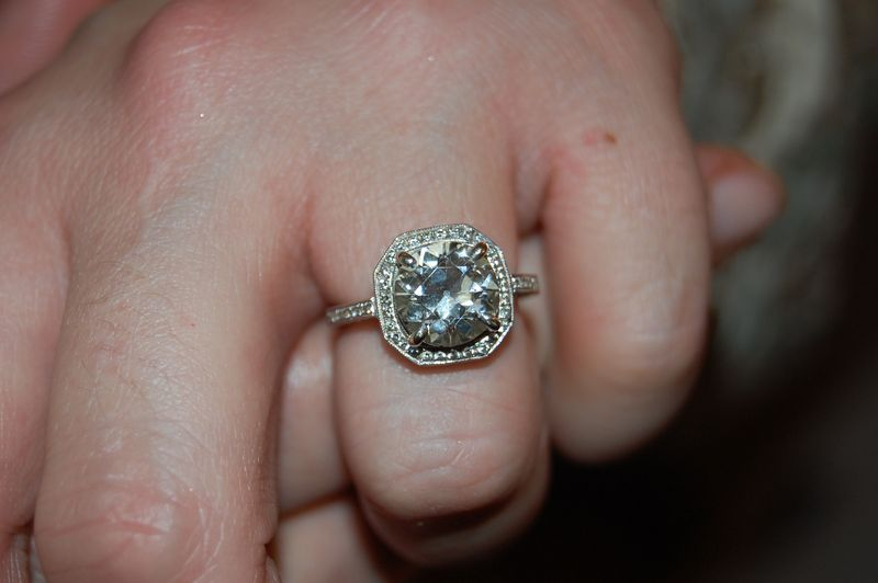 Old Miner Cut Engagement Ring, Halo Setting