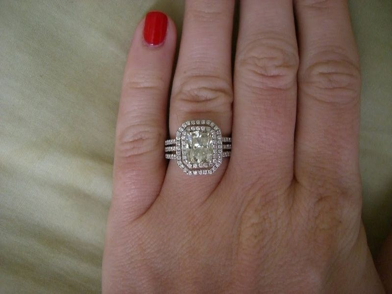 cushion cut engagement ring, double halo setting