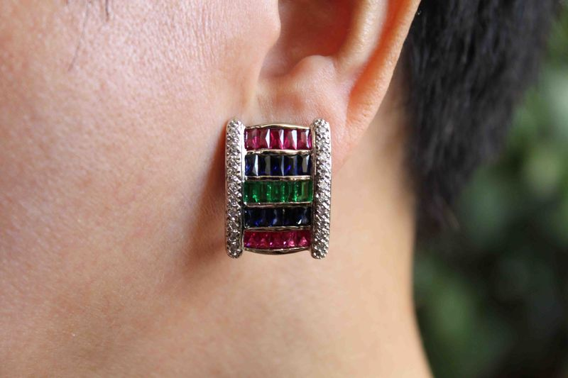tri color earrings, multicolor earrings