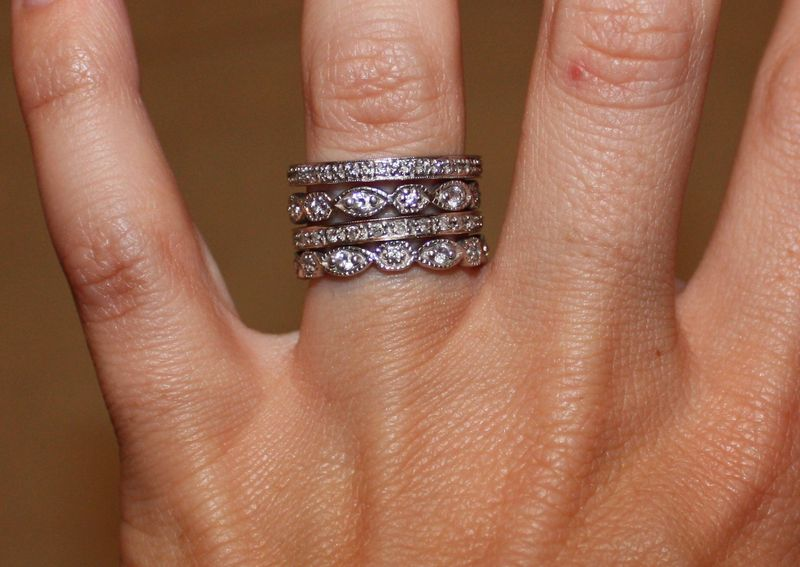 layered rings, micro pave wedding band