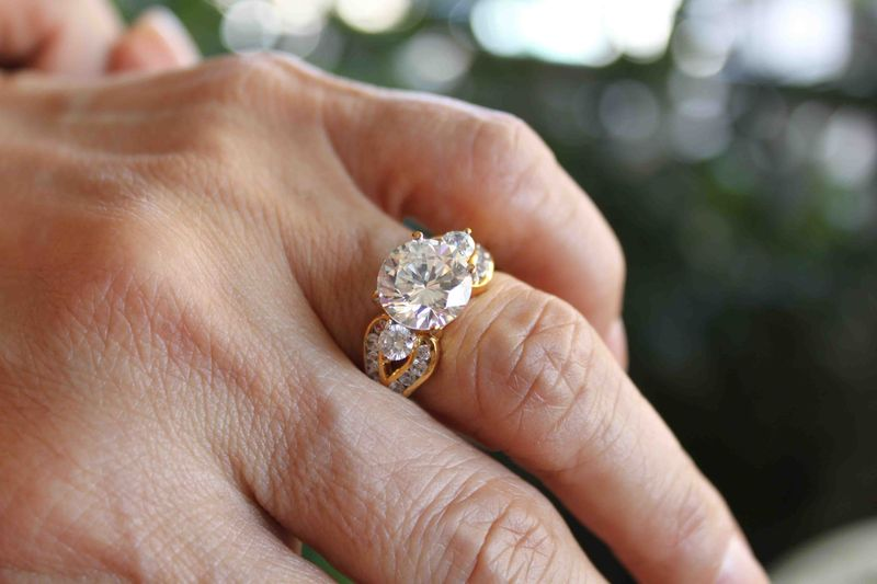 Yellow Gold Engagement Ring, Three Stone Round Brilliant Engagement Ring