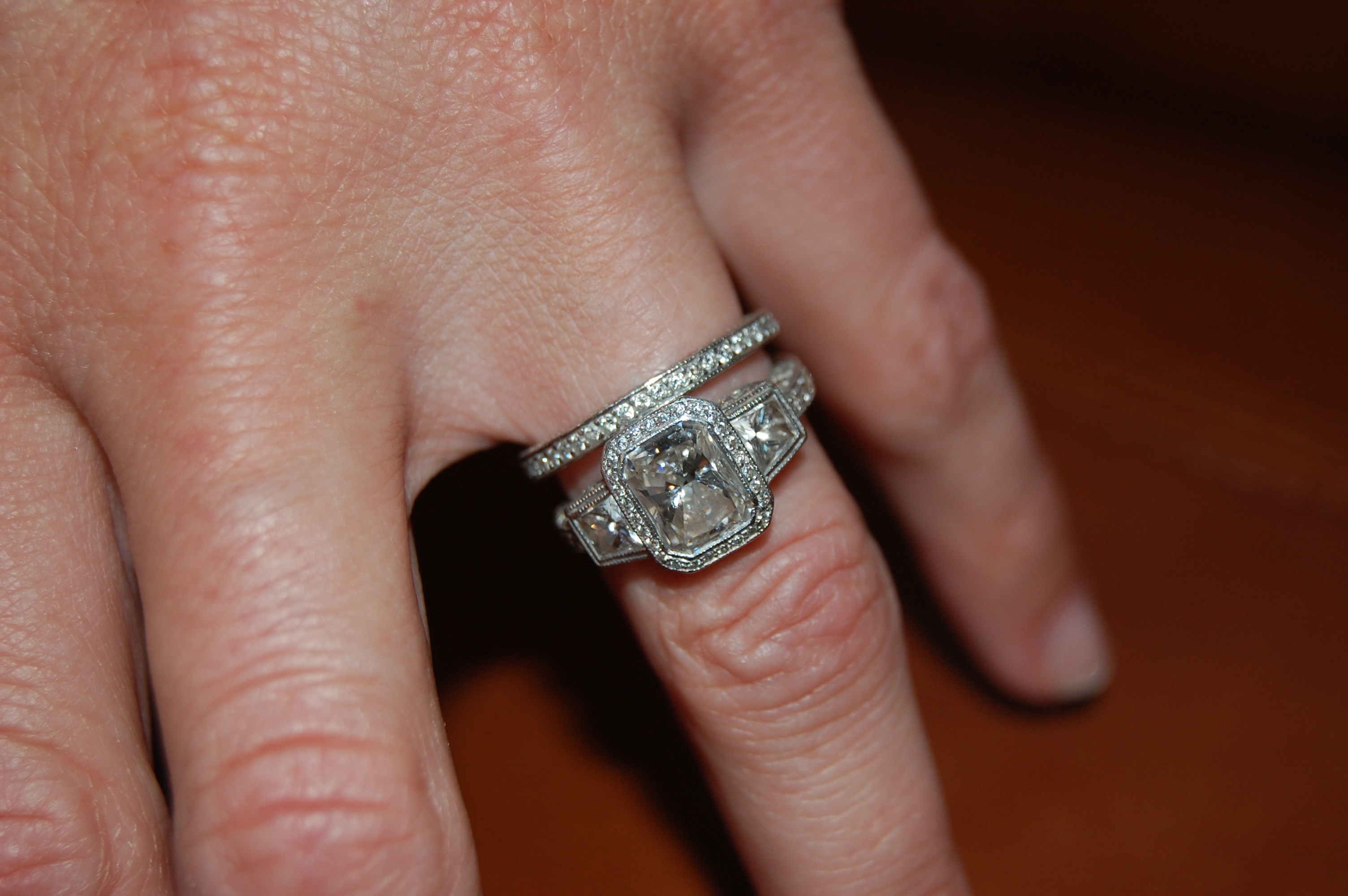 Three stone Radiant Cut Engagement Ring with Vintage Setting