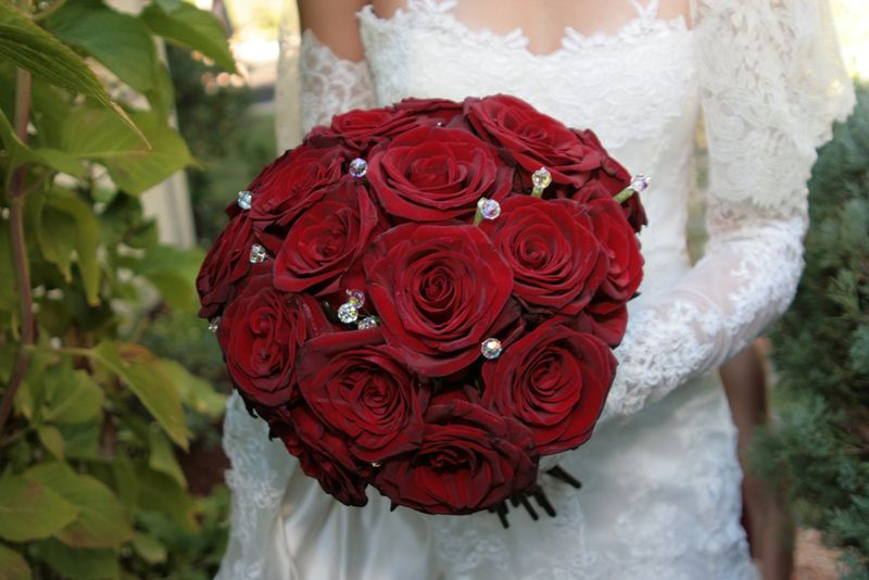 Studded Rose Wedding Bouquet