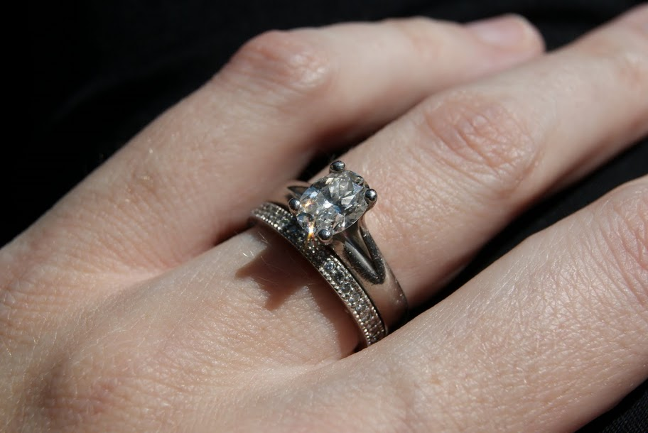 Oval Cut Engagement Ring with Micro Pave Wedding Band RingSpotters