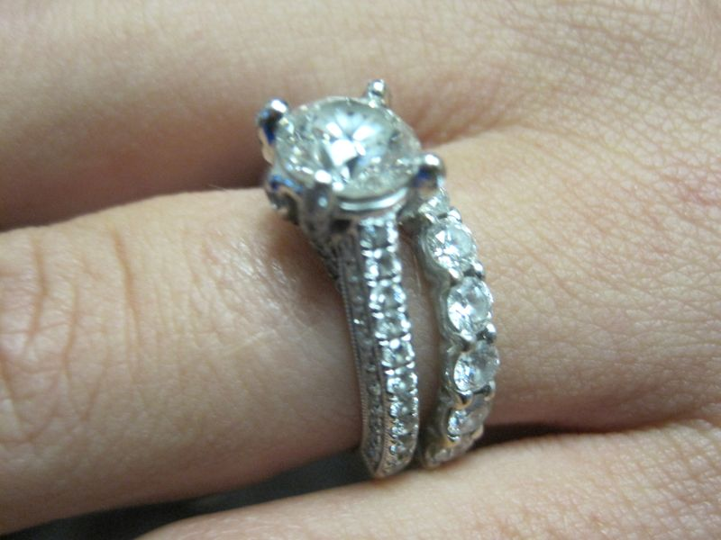 Round Brilliant Engagement Ring with Pace Accents + Wedding Band