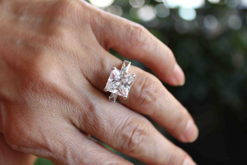 Princess Cut Diamond Ring with Baguettes