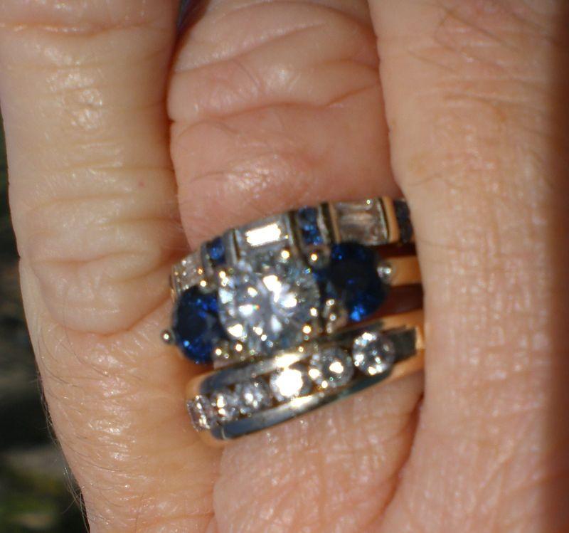 Round Brilliant and Sapphire Wedding Set