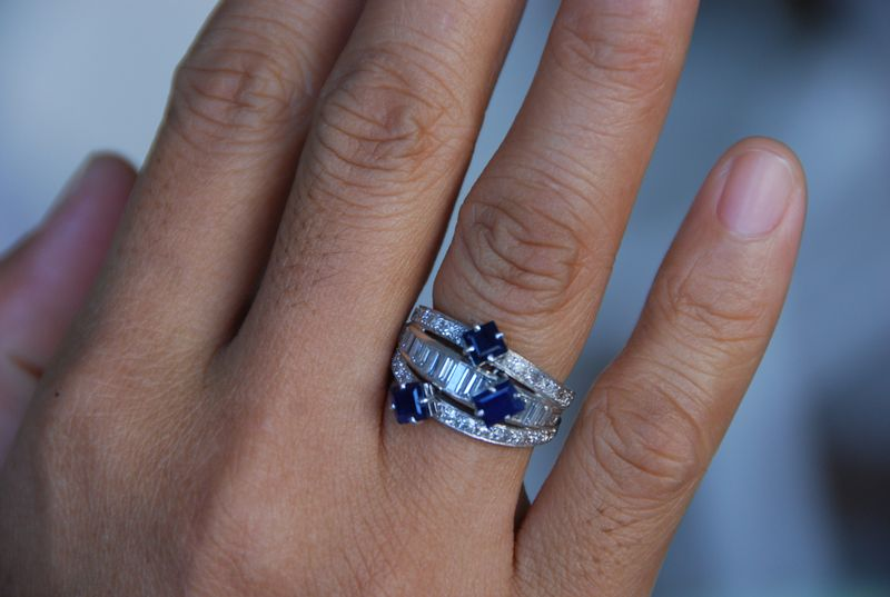 Triple Banded Diamond and Sapphire Cocktail Ringe