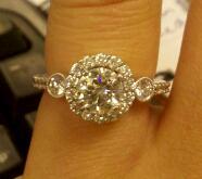 Three Stone Round Brilliant Engagement Ring with Halo Setting-1