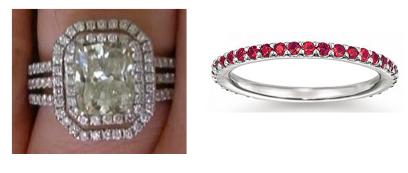 Double halo engagement ring ruby wedding band