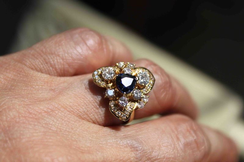 Sapphire and Diamond Ring with Yellow Gold Setting