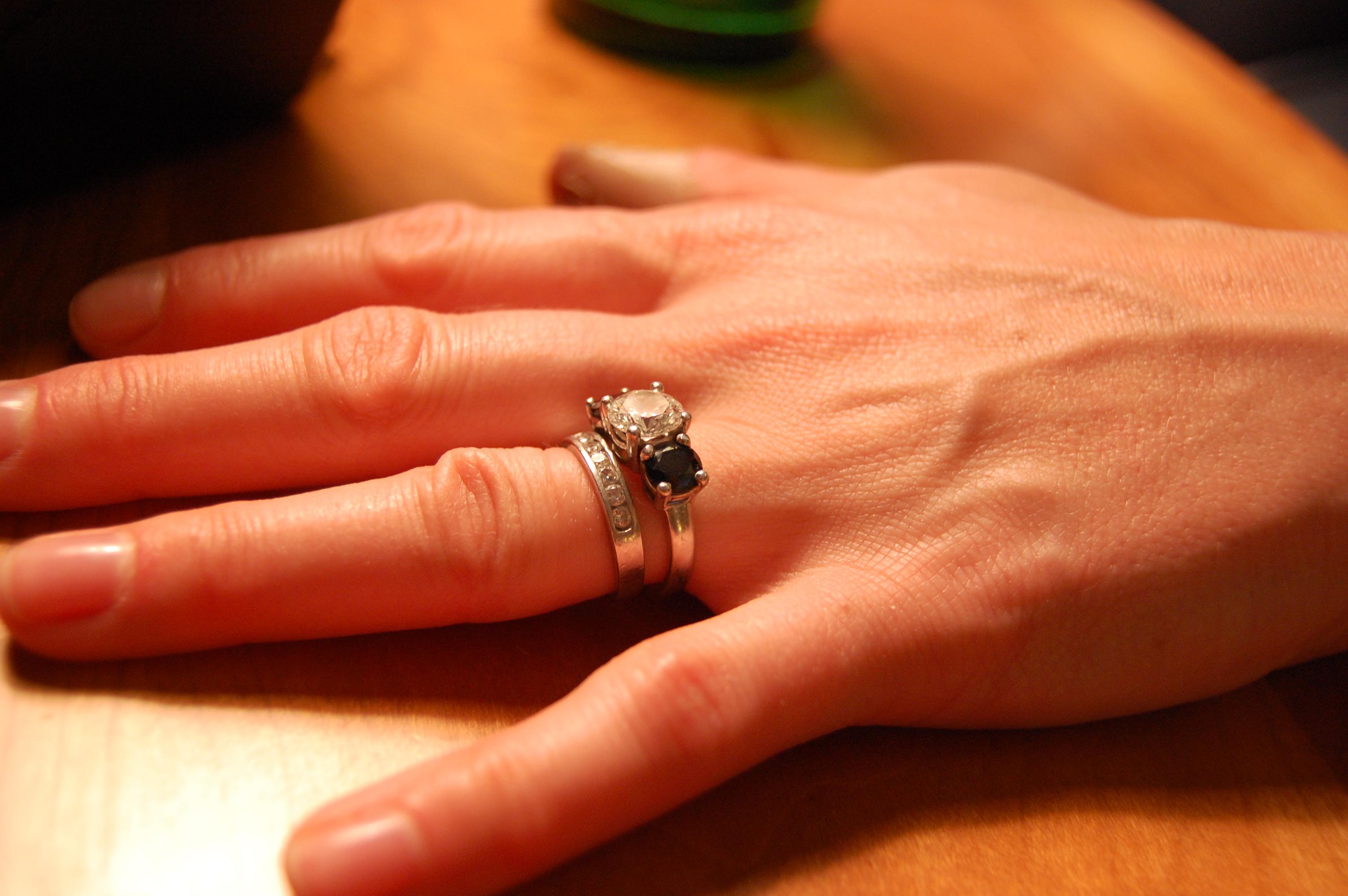 Three Stone Diamond and Sapphire Engagement Ring Platinum