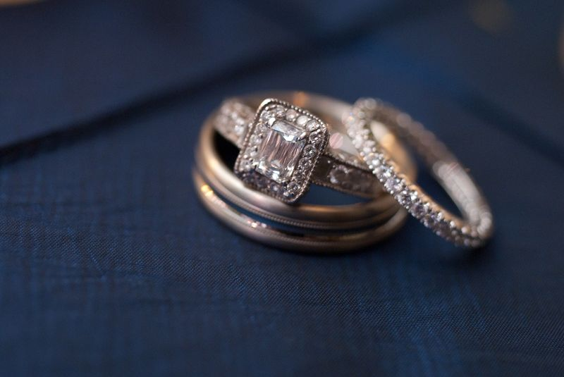 Emerald Cut with Halo setting + Eternity Band