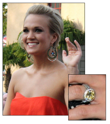 Carrie Underwood Engagement Ring Cut Round brilliant yellow diamond